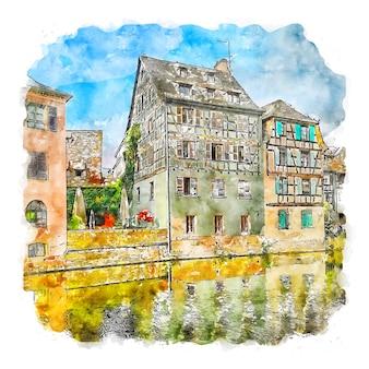 Illustrazione disegnata a mano di schizzo dell'acquerello di frankreich francia