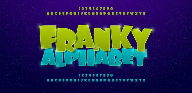 Carattere alfabeto di fumetti di franky
