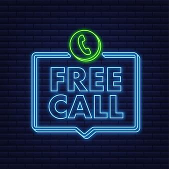 Chiamata gratuita. tecnologie dell'informazione. icona del telefono al neon. assistenza clienti. illustrazione di riserva di vettore.