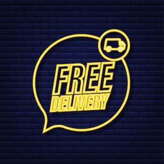 Consegna gratuita. distintivo con camion. icona al neon. illustrazione di riserva di vettore.