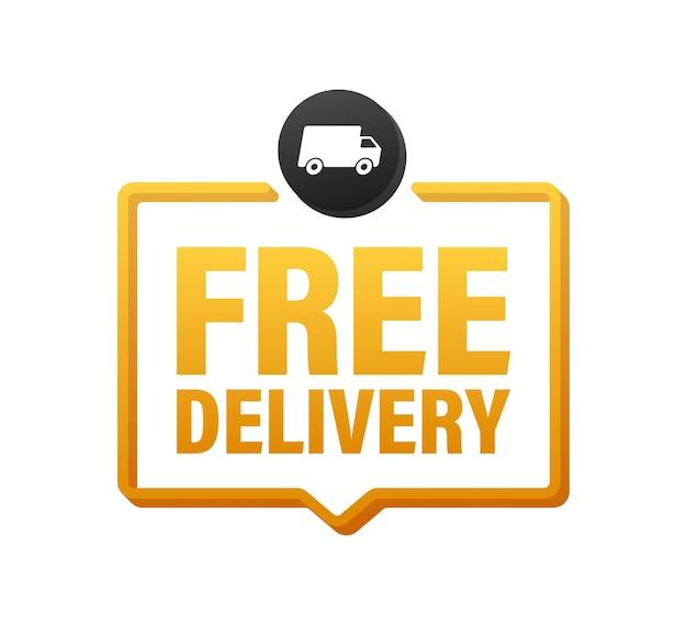 Consegna gratuita. distintivo con camion. cartellino del prezzo. illustrazione di riserva di vettore.