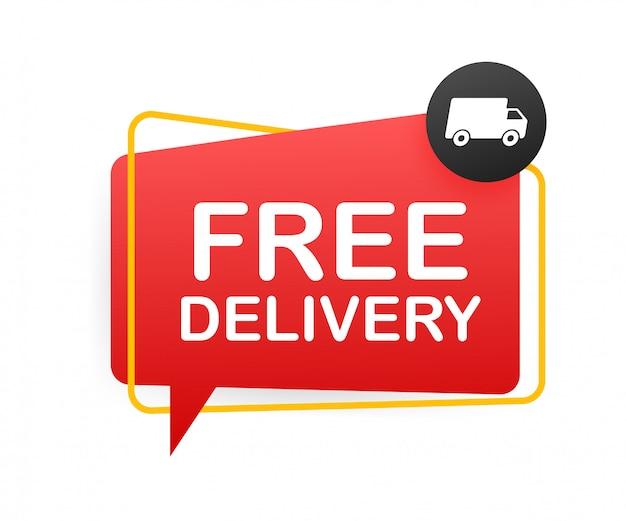 Consegna gratuita. badge con camion. illustrtaion di riserva.