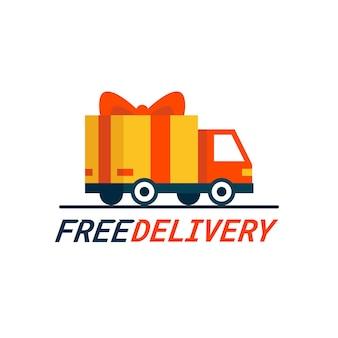 Concetto di consegna gratuita un camion per le consegne con confezione regalo