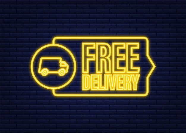 Consegna gratuita. icona al neon. distintivo con camion. illustrazione di riserva di vettore.