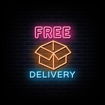 Simbolo al neon dell'insegna al neon di consegna gratuita