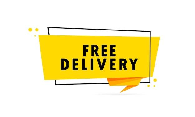 Consegna gratuita. insegna del fumetto di stile di origami. poster con testo consegna gratuita. modello di disegno dell'autoadesivo.