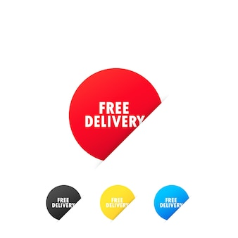 Adesivi con consegna gratuita. servizio di consegna espresso. vettore su sfondo bianco isolato. env 10.