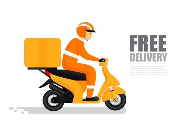 Testo di consegna gratuito con l'uomo sorridente in sella a una moto per il trasporto logistico di consegna e il concetto di shopping online, consegna espressa con cartone animato in moto