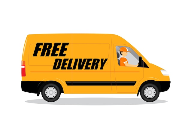 Furgone di consegna gratuito, cartoon man sorride e guida un furgone per la consegna