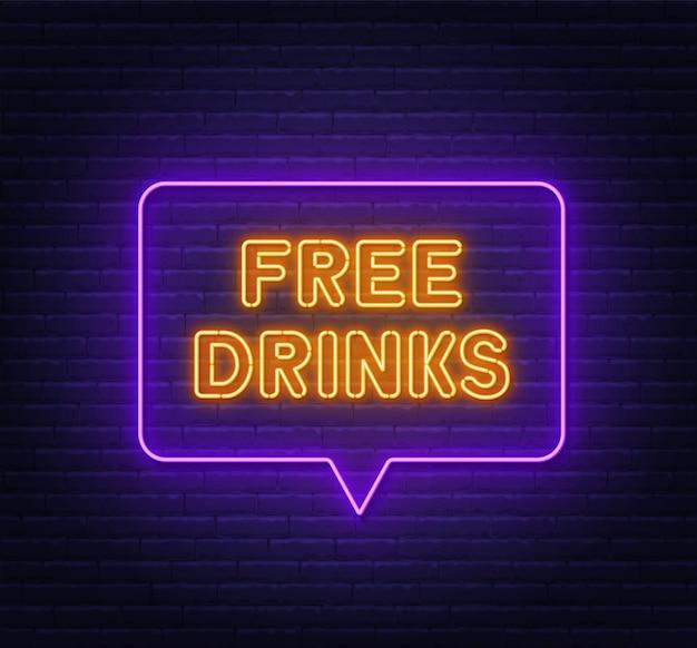 Bevande gratuite insegna al neon nella cornice della bolla di discorso sul fondo del muro di mattoni.