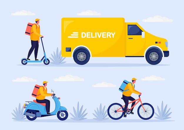 Servizio di consegna veloce gratuito in bicicletta, scooter, monopattino, camion, furgone. il corriere consegna il cibo ordinato in auto
