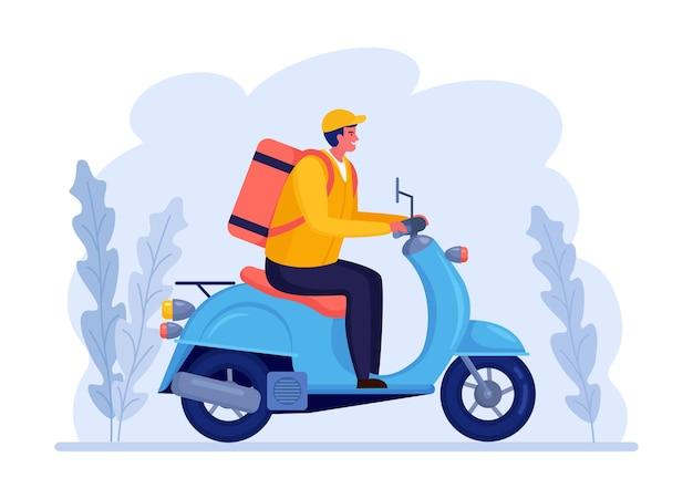 Servizio di consegna veloce gratuito in scooter. il corriere consegna l'ordine del cibo. l'uomo viaggia con un pacco. spedizione espressa. monitoraggio del pacco online.