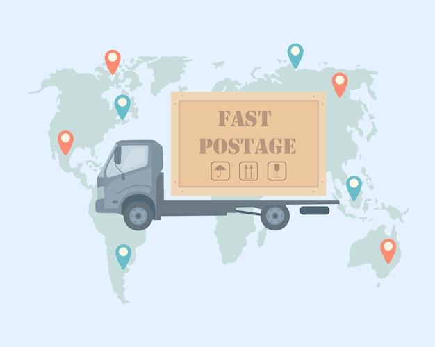 Servizio di consegna veloce gratuito con camion con mappa