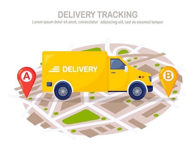 Servizio di consegna veloce gratuito con camion giallo, furgone. il corriere consegna il cibo ordinato in auto. monitoraggio del pacco online