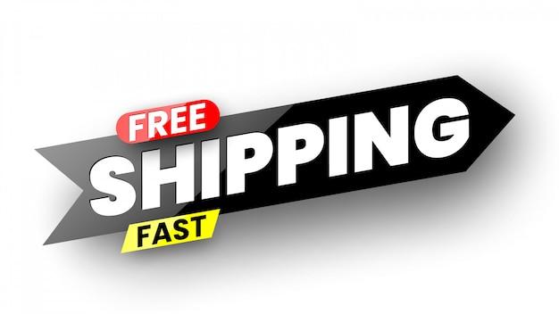 Banner di spedizione veloce gratuito. illustrazione.