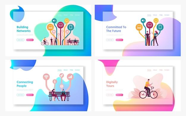 Set di modelli di pagina di destinazione per applicazioni e servizi internet gratuiti.