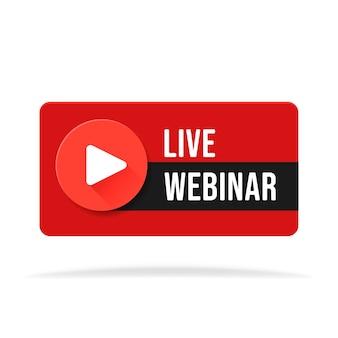 Webinar live gratuito gioca illustrazione vettoriale pulsante online.