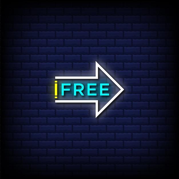 Testo in stile insegne al neon gratis con freccia destra e punto esclamativo