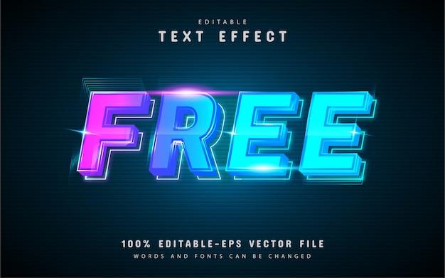 Effetto di testo al neon gratuito con sfumatura blu
