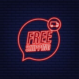 Spedizione gratuita. distintivo con camion. icona al neon. illustrazione di riserva di vettore.
