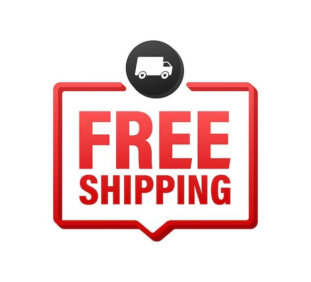 Spedizione gratuita. distintivo con camion. illustrazione di riserva di vettore.