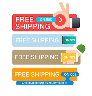 Set di banner di spedizione gratuita. modello struttura banner per il marketing.