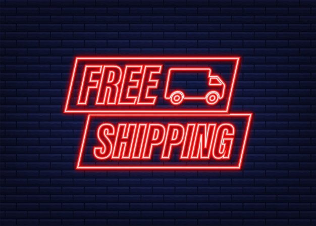 Spedizione gratuita. icona al neon. distintivo con camion. illustrazione di riserva di vettore.