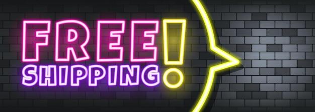 Testo al neon di spedizione gratuita sullo sfondo di pietra. spedizione gratuita. per affari, marketing e pubblicità. vettore su sfondo isolato. env 10.