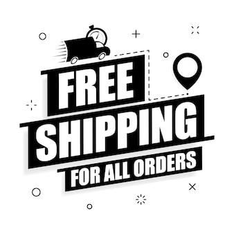 Offerta di spedizione gratuita. manifesto di vettore di consegna gratuita su sfondo bianco. illustrazione piana di promozione.