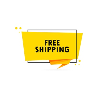 Spedizione gratuita. insegna del fumetto di stile di origami. modello di disegno adesivo con testo di spedizione gratuita. vettore env 10. isolato su priorità bassa bianca.