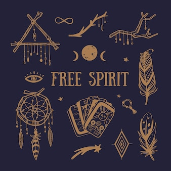 Collezione boho spirito libero. acchiappasogni, piume, tarocchi e altri simboli mistici