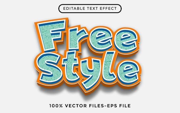 Vettori premium dei cartoni animati con effetto testo modificabile in stile libero