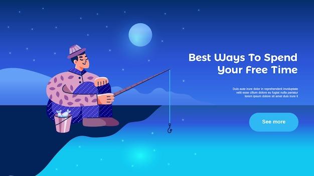 Attività del tempo libero hobby con l'insegna orizzontale della pagina web dell'uomo di pesca bellissimo sfondo del paesaggio notturno