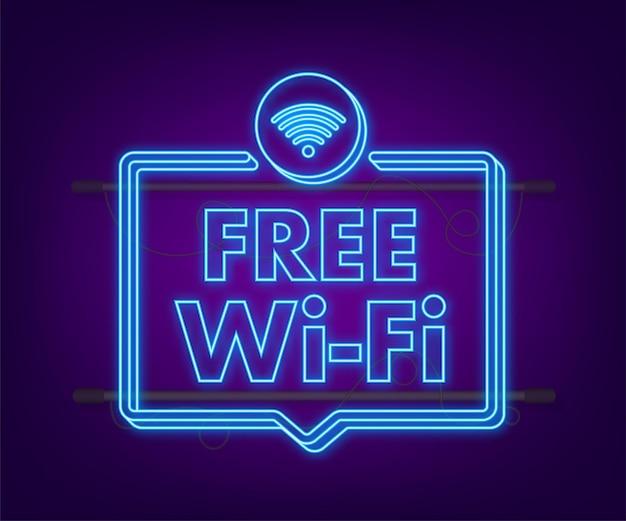 Icona blu della zona wifi gratuita. wifi gratuito qui segno concetto. icona al neon. illustrazione vettoriale.