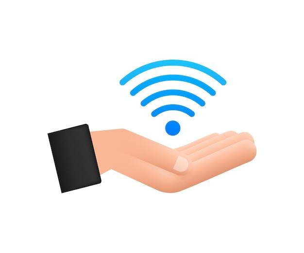 Zona wifi gratuita segno blu nell'icona delle mani. wifi gratuito qui segno concetto. illustrazione vettoriale.