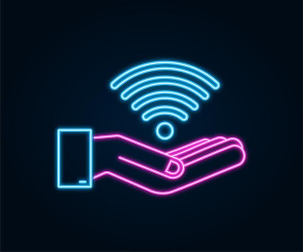 Insegna al neon della zona wifi gratuita nell'icona delle mani. wifi gratuito qui segno concetto. illustrazione vettoriale.