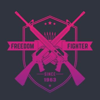 Combattente per la libertà, emblema vintage con fucili d'assalto, illustrazione vettoriale