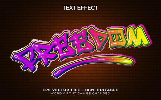 Stile effetto testo libertà tema graffiti effetto testo modificabile
