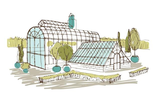 Disegno a mano libera di un padiglione o di una serra circondato da cespugli e alberi che crescono in vaso.