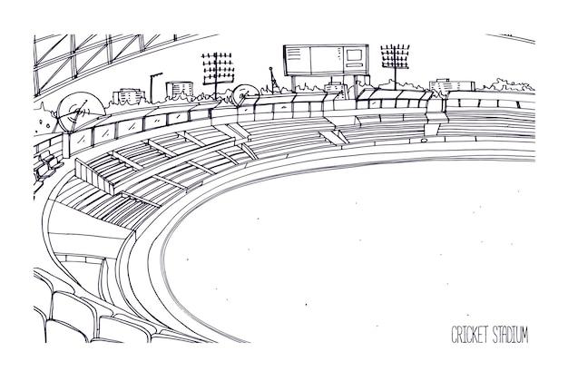 Schizzo a mano libera dello stadio di cricket con file di sedili, tabellone segnapunti elettronico e campo erboso o prato. arena sportiva per la partita di bat-and-ball della squadra britannica.