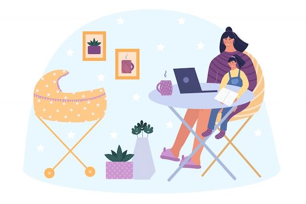 Concetto di freelance. la donna felice lavora a casa con un computer portatile. bambino addormentato nelle vicinanze in un passeggino. sulle mani di un bambino si siede e legge un libro. illustrazione.