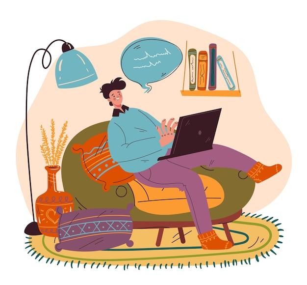 Personaggio uomo freelance che lavora a casa