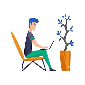 Uomo freelance che lavora a casa in condizioni confortevoli. il personaggio dei cartoni animati lavora da casa. trascorri del tempo a casa durante la quarantena. stai attento