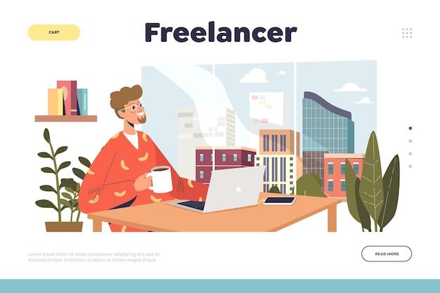 Concetto di occupazione freelance con uomo libero professionista che lavora al laptop