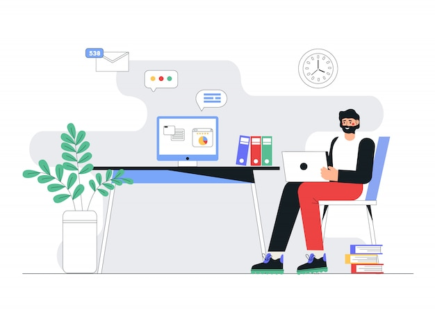 Freelance, formazione online o concetto di social media.