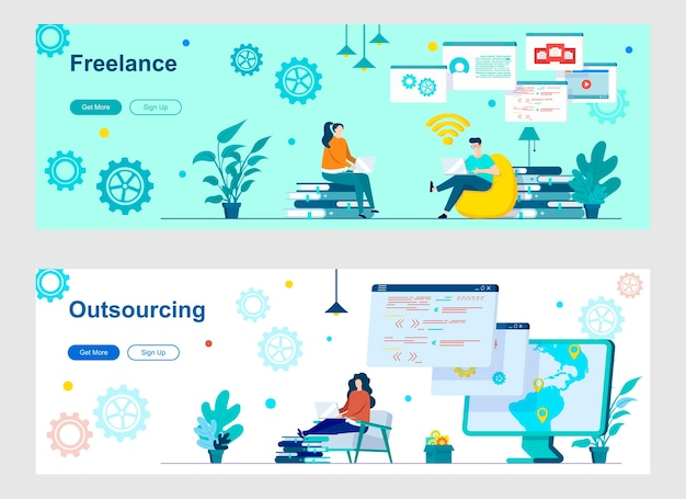 Set di pagine di destinazione freelance e outsourcing
