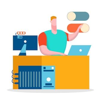 Freelance, illustrazione piana di lavoro a distanza