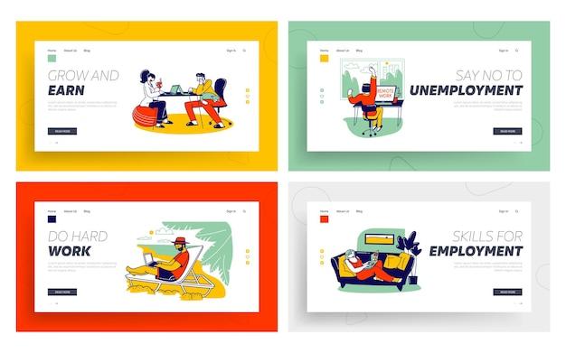 Set di modelli di pagina di destinazione per l'occupazione autonoma freelance.
