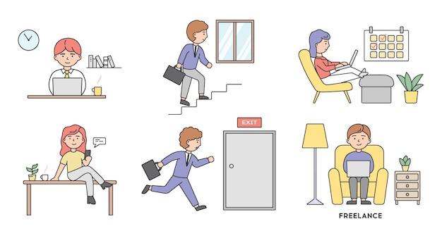 Lavoro freelance, brainstorming e concetto di lavoro autonomo. insieme di uomini d'affari uomini e donne in diverse situazioni lavorano in ufficio oa casa o al bar.
