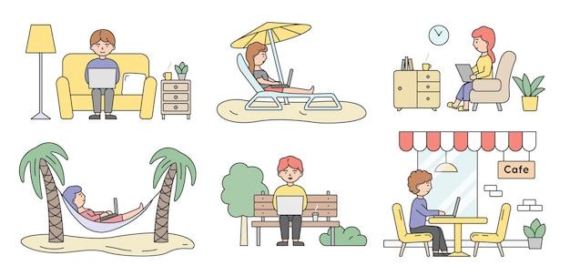 Lavoro freelance, brainstorming e concetto di lavoro autonomo. insieme di freelance occupati belle persone uomini e donne che lavorano su computer portatili in luoghi diversi.
